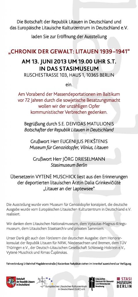 Kvietimas į parodą Chronik der Gewalt: Litauen 1939-1941