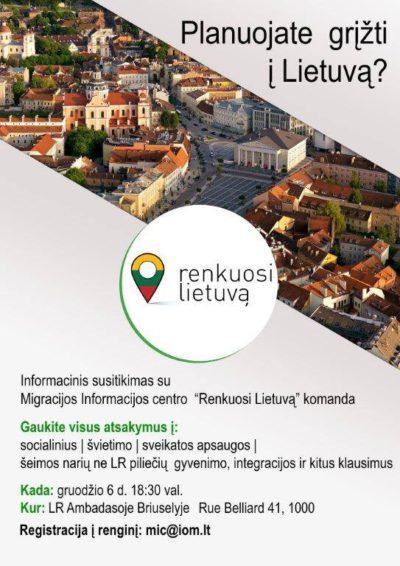 """Informacinis susitikimas su """"Renkuosi Lietuvą"""" komanda Berlyne kovo 31 d."""