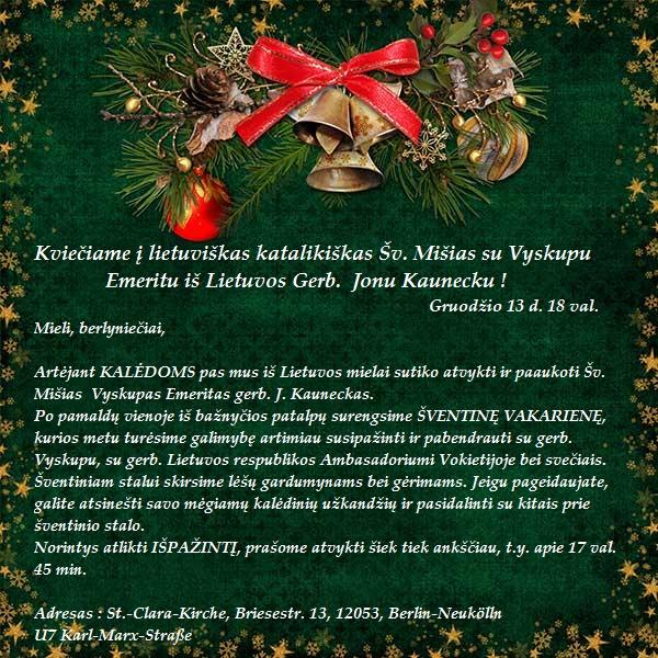 Kvietimas į lietuviškas katalikiškas Šv. mišias Berlyne gruodžio 13 d. 18 val.