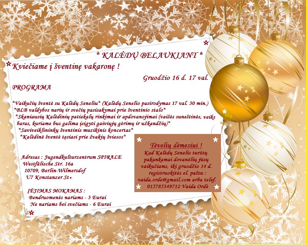 """Kvietimas į šventinę vakaronę """"KALĖDŲ BELAUKIANT"""" gruodžio 16 d. 17 val."""