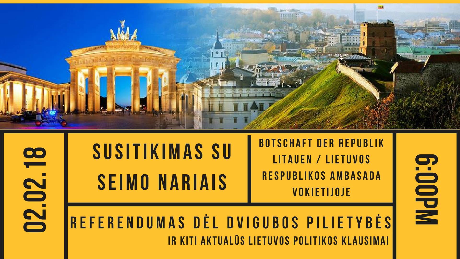 Susitikimas su Lietuvos Respublikos seimo nariais vasario 2 d. 18 val.