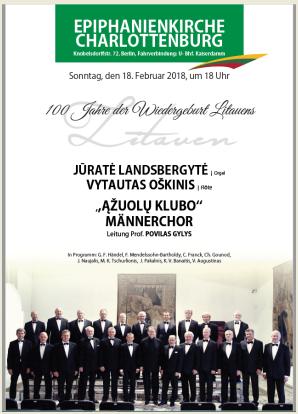 Kviečiame į Lietuvos Atkūrimo 100 – mečio paminėjimo koncertą vasario 18 d. 18 val.